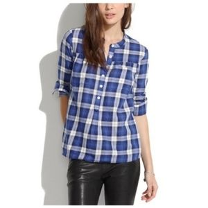 MADEWELL plaid buttoned pullover blouse